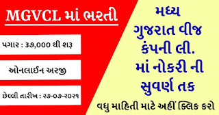 Madhya Gujarat Vij Company Limited (MGVCL) Recruitment for Deputy Superintendent (Account) Posts 2021