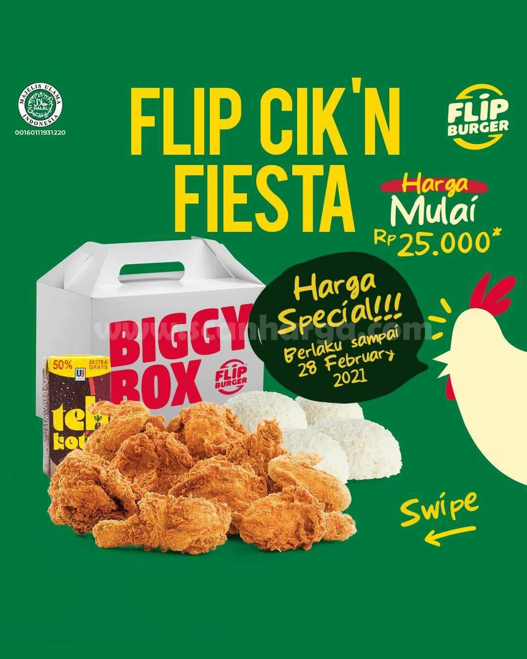 FLIP BURGER PAKET FLIP CIK'N FIESTA – Harga Promo mulai Rp. 25.000