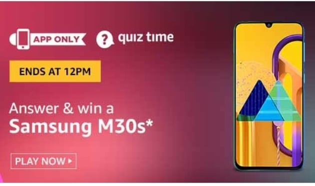 Amazon Today Quiz 29 July 2020 Answers Win – Samsung M30s