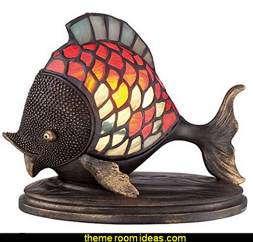 Vintage Tiffany 1-Light Fish Table Lamp Steampunk decorating ideas - Victorian Vintage antiques - steam punk Industrial style decorating ideas  - steampunk gears decor - Steampunk clothes - Steampunk Costumes -  Jules Verne  - Steampunk home decor - Steampunk lighting - Steampunk wall art - Victorian punk rock style creates the steampunk theme - Steampunk bedding