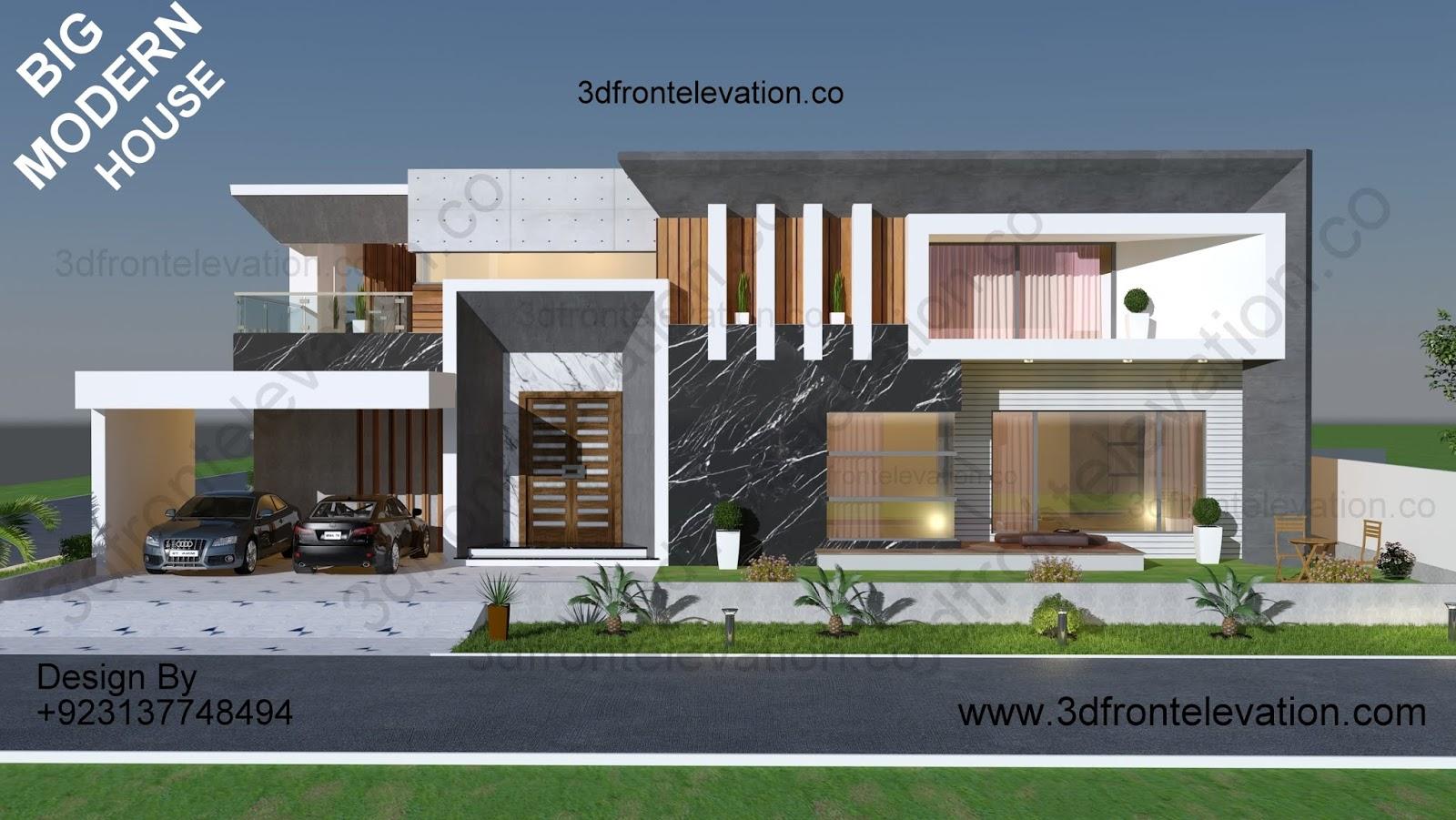 3 SIDE CORNER BIG HOUSE PLAN EXTERIOR ELEVATION DESIGN , COMPLETE ARCHITECTURAL SERVICES
