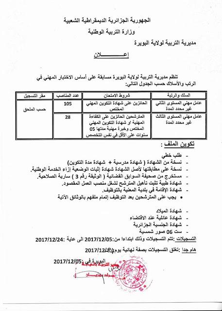 اعلان توظيف عمال مهنيين بمديرية التربية لولاية البويرة ديسمبر 2017