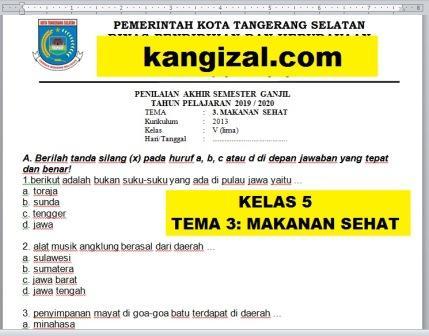 Soal UAS / PAT / UKK Kelas 5 Tema 3 Kurikulum 2013 Revisi 2019/2020 kangizal.com kang izal