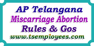 AP Telangana TS Teachers Employees Miscarriage Abortion Leave Rules for Govt Female Employees abortion leave to female govt employees not more then 6 weeks abortion leave up to two second abortions hat the leave does not exceed Six weeks, and 2. that the application for the leave is supported by a certificate from the registered Medical Practitioner