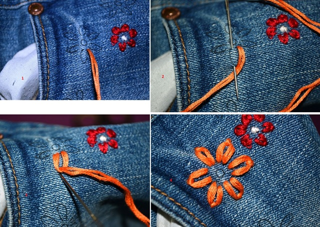Hướng dẫn thêu hoa trên quần jean - Hình 2