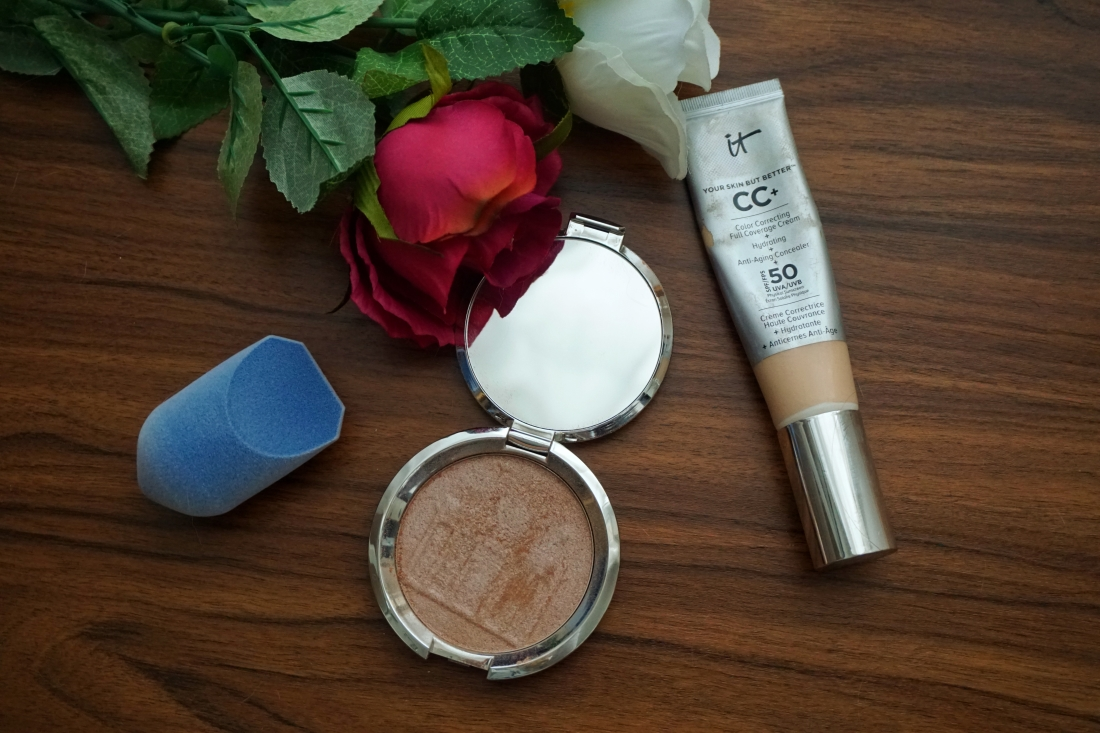 Becca - Shimmering Skin Perfector in Berlin Girl Glow, JUNO & Co - Micro Fiber Sponge, It Cosmetics - Your Skin But Better CC+ Cream