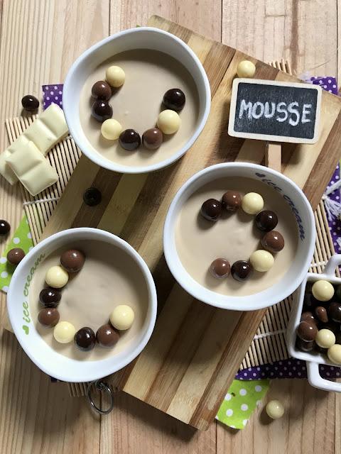 mousse de chocolate blanco y café receta