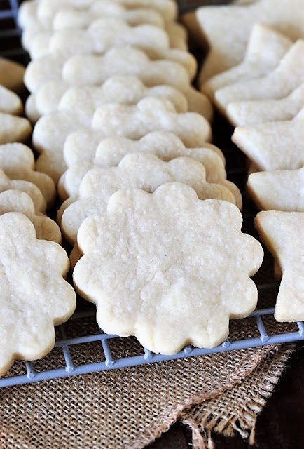 Flower Shaped Basic Rolled Butter Cookies on Cooling Rack Image
