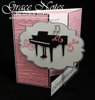 piano gatefold 100th. birthday card, by Grace Baxter