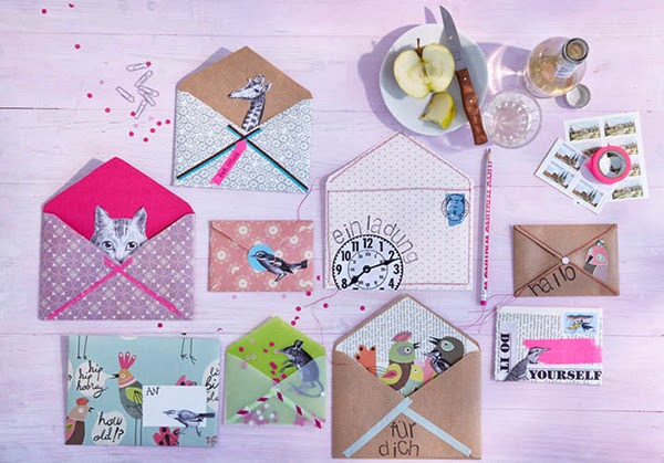 Twelve Inspiring DIY Projects - DIY Mixed Paper craft and decoupage envelopes
