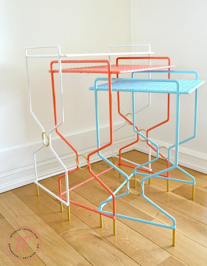How to quickly and easily refresh vintage wrought iron mesh nesting tables in bright bold retro colors reminiscent of 1950s coastal outdoor furniture.