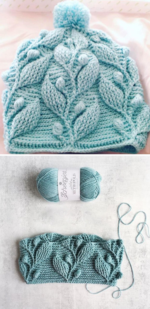 Beanie Hat With Leaves - Tutorial