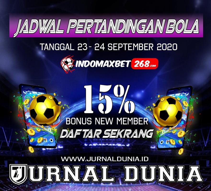 Jadwal Pertandingan Sepakbola Hari Ini, Rabu Tgl 23 - 24 September 2020