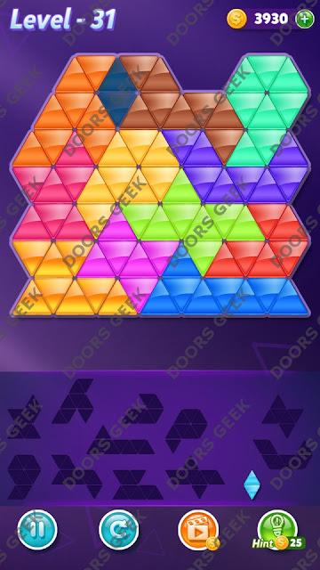 Block! Triangle Puzzle Grandmaster Level 31 Solution, Cheats, Walkthrough for Android, iPhone, iPad and iPod