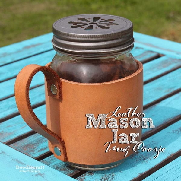 Leather mason jar coozie made perfect for a father's day mug