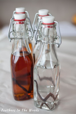 Aged and freshly made homemade vanilla extract. Glass bottles.