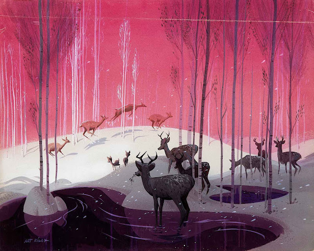 Art Riley for Disney, deer in winter