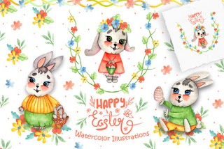 Watercolor Easter Bunnies Illustrations