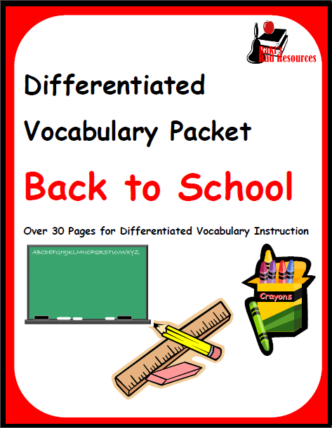Free differentiated vocabulary packet for esl, ell, esol, language learners. This covers all of the resources for Back to School including school supplies, important people in a school and important school subjects. Free download from Raki's Rad Resources.