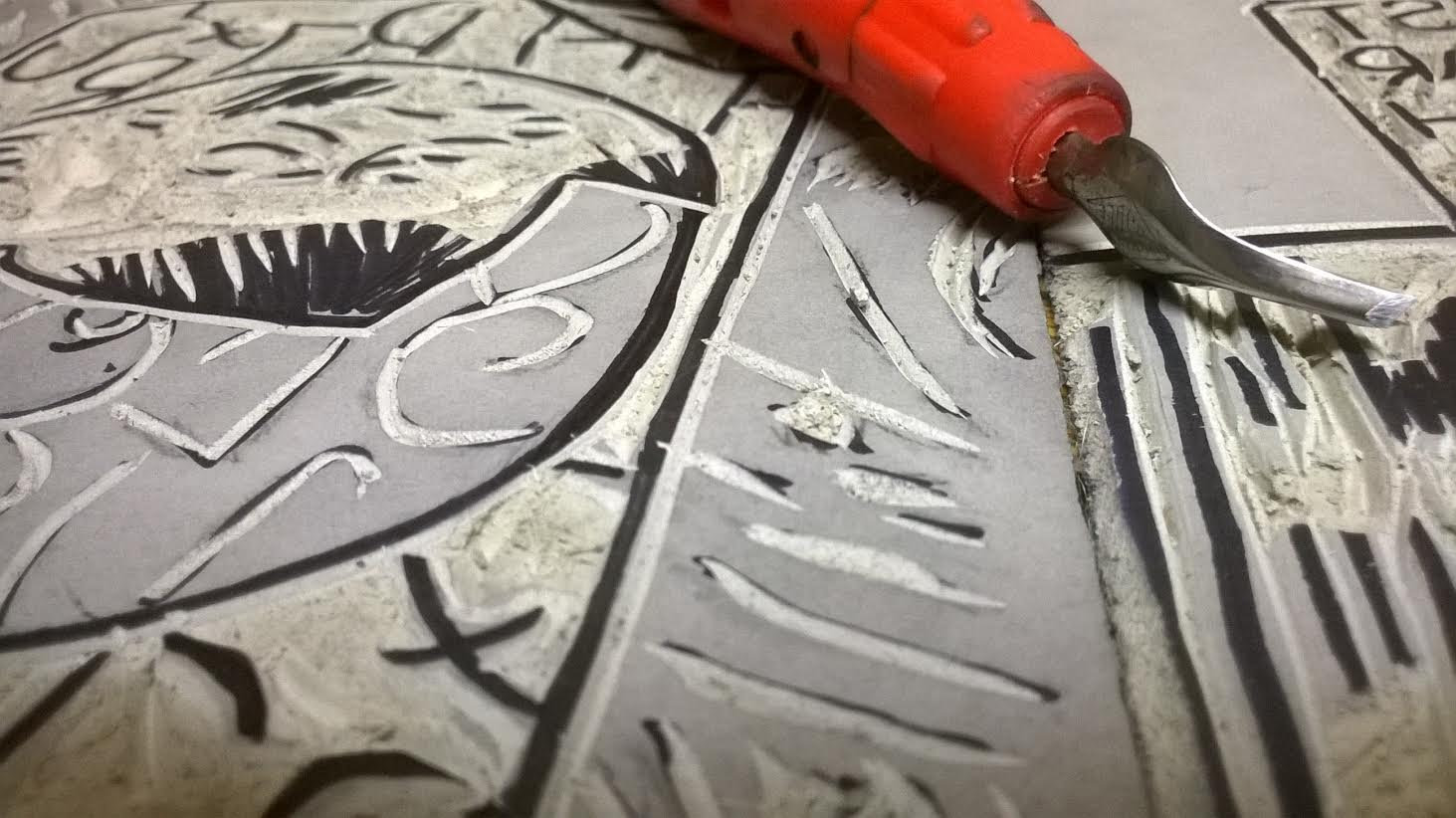 linocut in progress