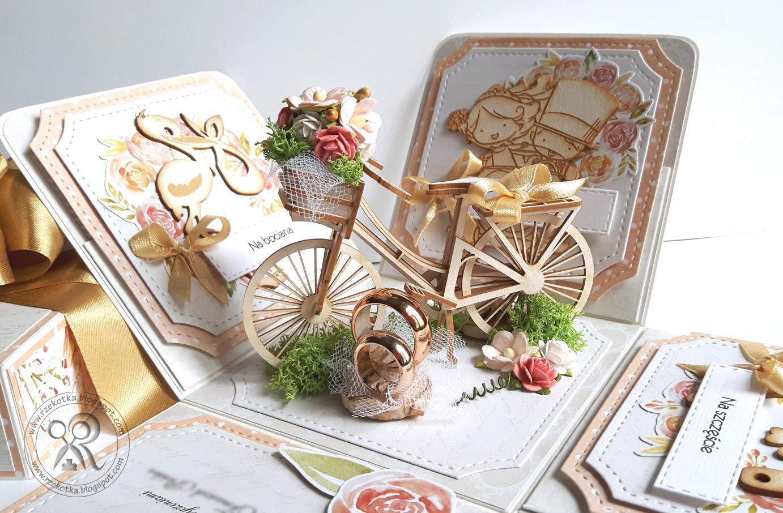 Eksplodujące pudełko na ślub z przestrzennym rowerem