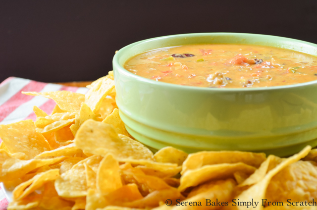 Homemade Chili Queso Dip Recipe serenabakessimplyfromscratch.com