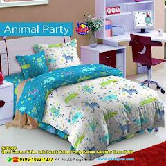 Sprei Custom Katun Lokal Anak Animal Party Kartun Karakter Tosca Putih