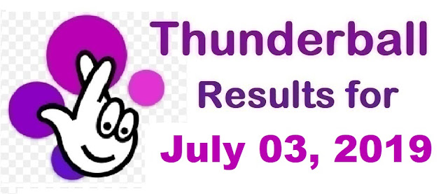 Thunderball results for Wednesday, July 03, 2019