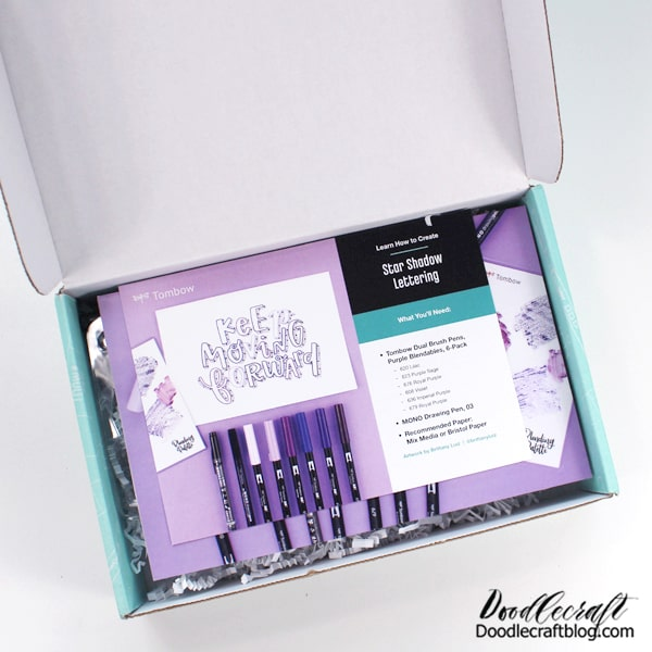 This teal box that shows up on your porch is filled with all the Tombow goodies to make you squeal!