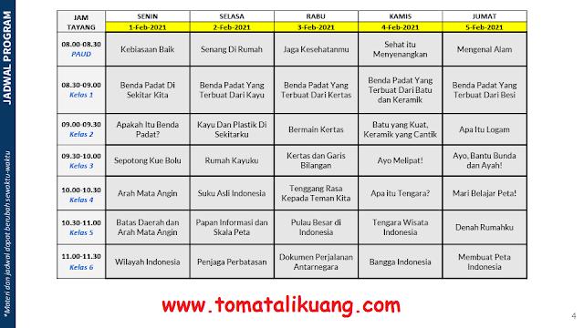 jadwal program belajar dari rumah bdr tvri tanggal 1 2 3 4 5 februari 2021 tomatalikuang.com