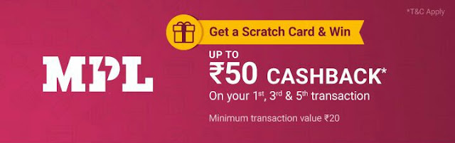PhonePe offer-add money in MPL app and get cashback upto Rs50