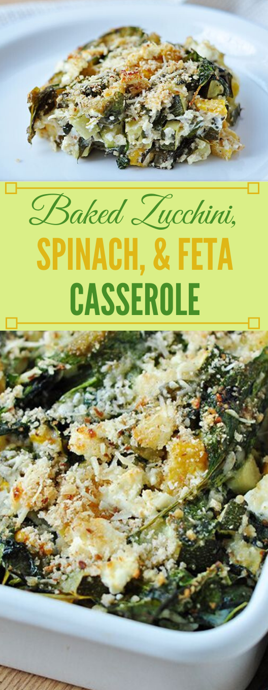 Baked Zucchini, Spinach, and Feta Casserole #healthydiet #spinach #casserole #paleo #lowcarb