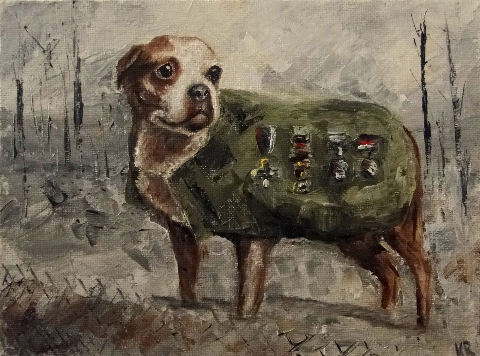 Sergeant Stubby, oil painting of most decorated dog of World War 1