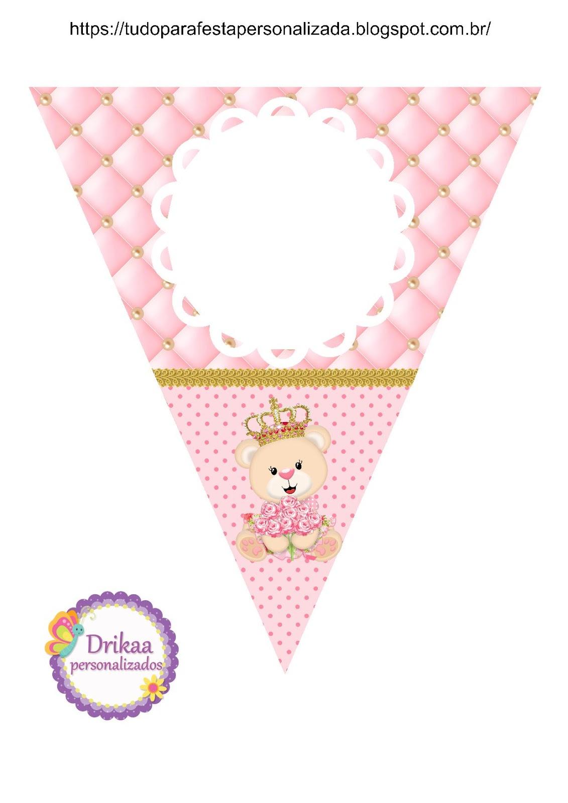 Minhas Coisinhas Festa Personalizada Kit Ursinha Princesa Para