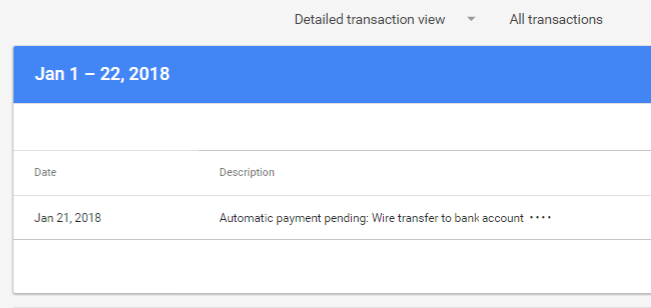 Automatic payment pending screenshot