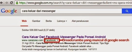 Breadcrumbs yang tampil pada google Search