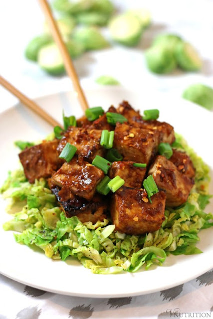 Asian Baked Tofu with Shaved Brussels Sprouts