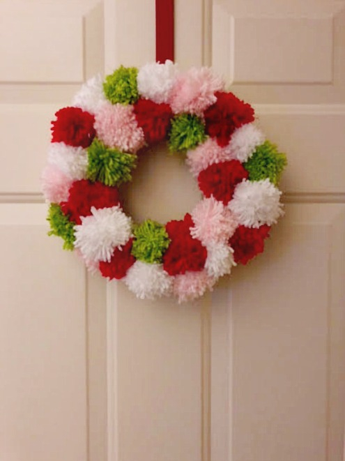 pompom, wreath, Christmas, DIy, Craft
