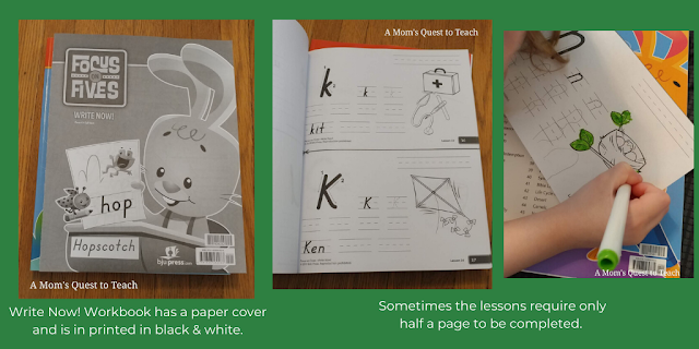 Focus on Fives Write Now! cover and inside the workbook; Text: Write Now! Workbook has a paper cover and is in printed in black & white; Sometimes the lessons require only half a page to be completed