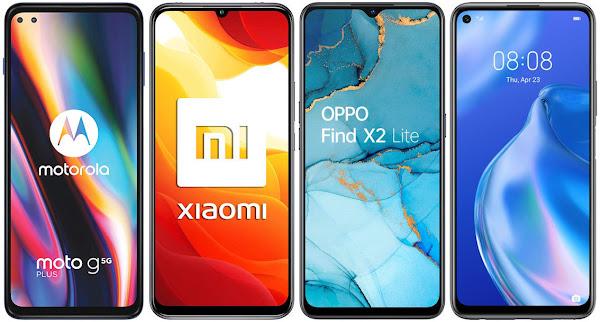 Motorola Moto G 5G Plus vs Xiaomi Mi 10 Lite 5G vs Oppo Find X2 Lite 5G vs Huawei P40 Lite 5G