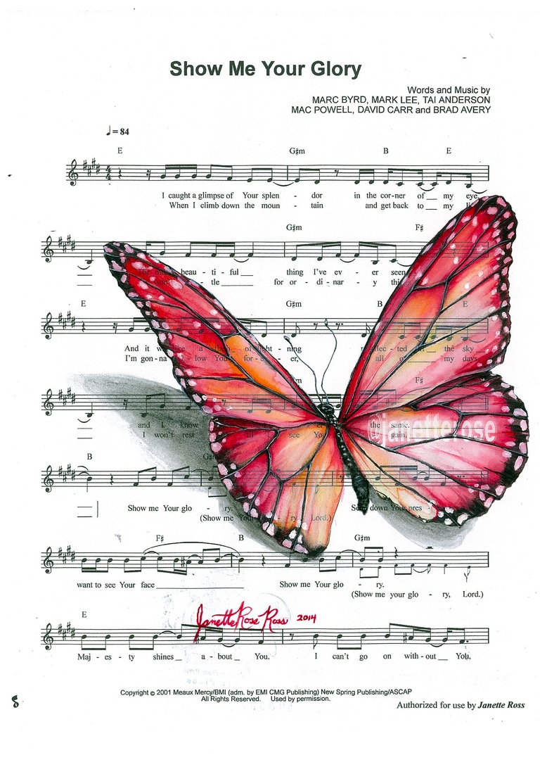 14-Janette-Rose-Painting-on-Leafs-+-Butterfly-Painting-on-Sheet-Music-www-designstack-co