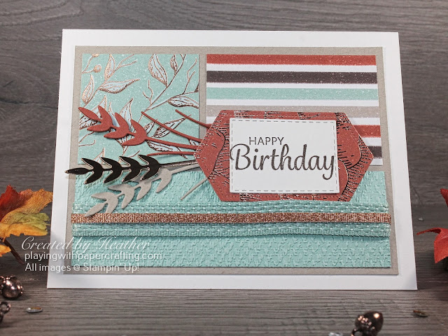 colour blocked birthday card with gilded autumn dsp