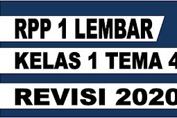 RPP 1 LEMBAR KELAS 1 TEMA 4 REVISI 2020