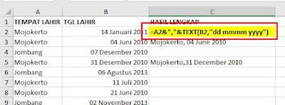 Menggabungkan Tempat Tanggal Lahir di Excel