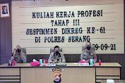 Polres Serang Dukung Serdik KKP Tahap III Sespimen Dikreg ke-61