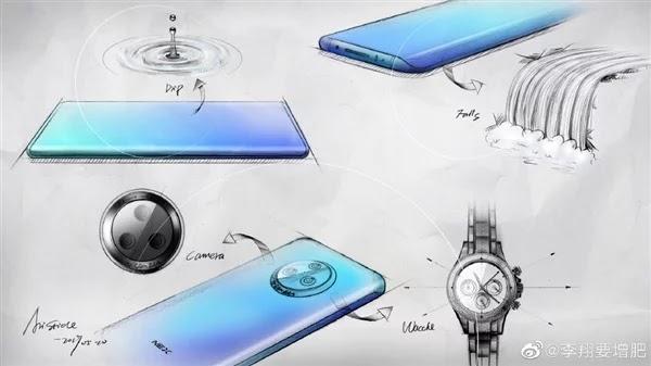 Vivo NEX 3 Dilihat dari desain depan dan belakang dengan sketsa 3D