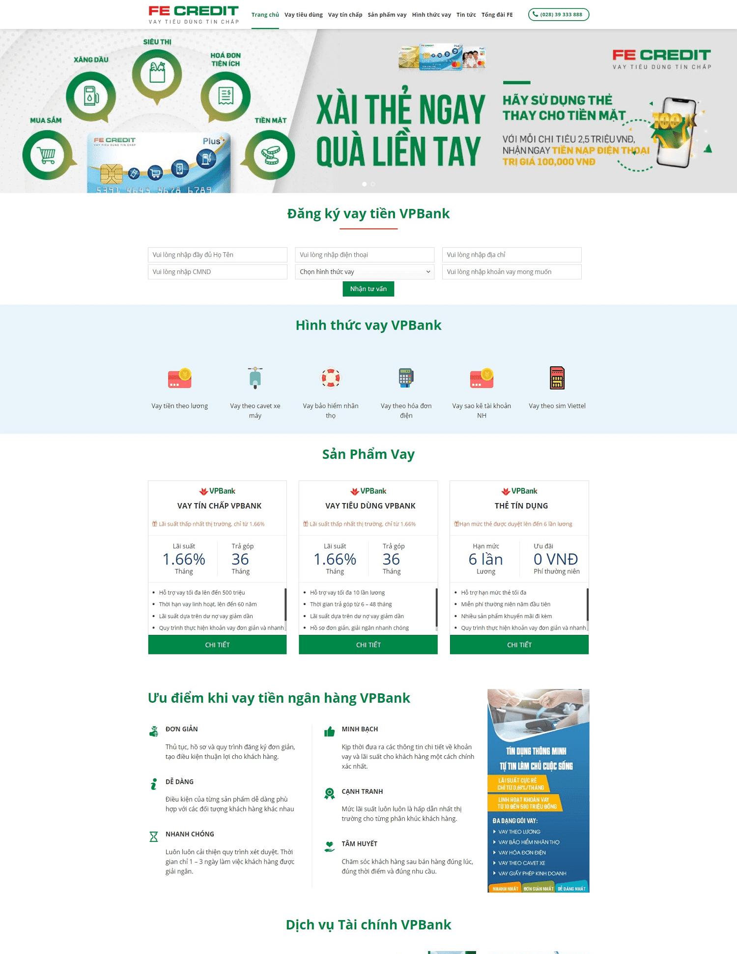 Giao diện blogspot landing page vay vốn tiêu dùng tín chấp