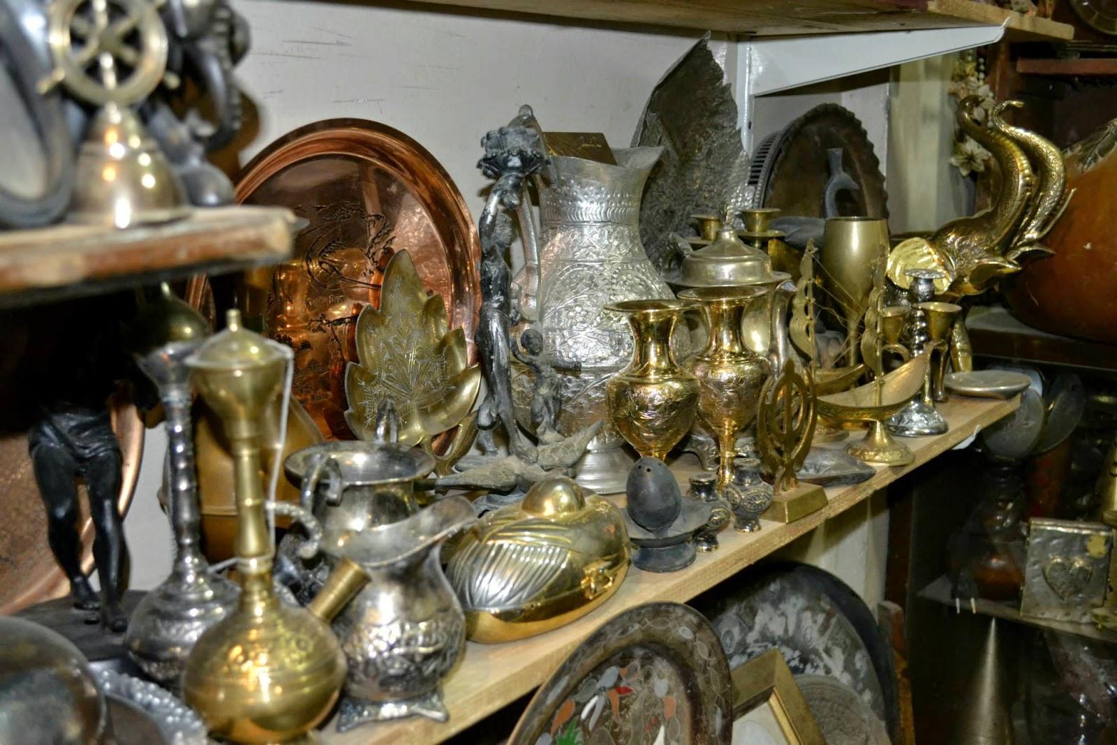 antique vases and silverware