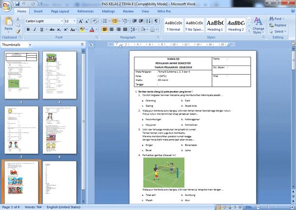 Contoh Soal PAS SD Kelas 2 Semester 2 Kurikulum 2013 Revisi Dilengkapi Kunci Jawaban