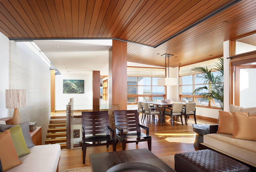 tropical interior living room decorating also hardwood ceiling style | Wood and steel in interior design | House Interior Decoration